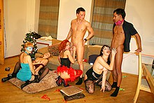 Student group sex at the Christmas party