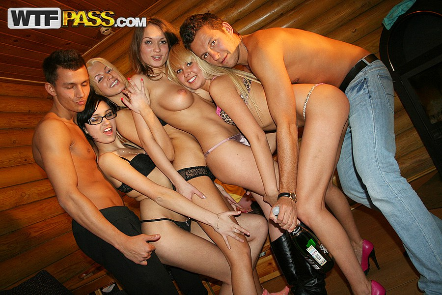 sexy naked girls with naked boys at the party