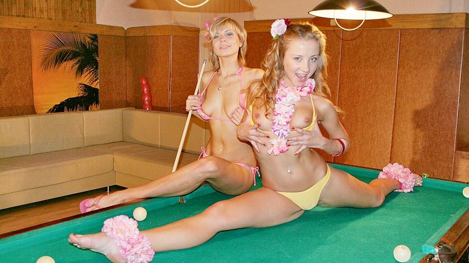 Sexy bikini girls made a crazy orgy on the nature