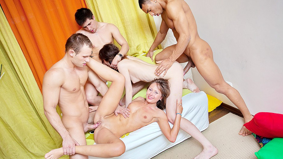 Drunk student sex party with hot coed girls