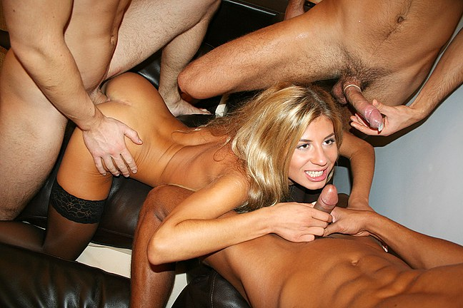 Seductive striptease and group fucking