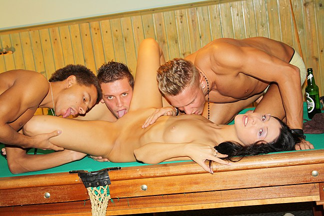 Group-sex-with-cute-brunette-on-the-billiard-table
