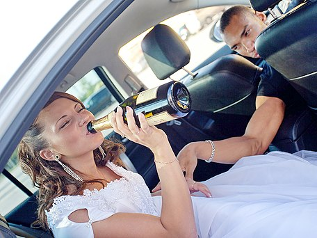 Drunk newlyweds fucking outdoors