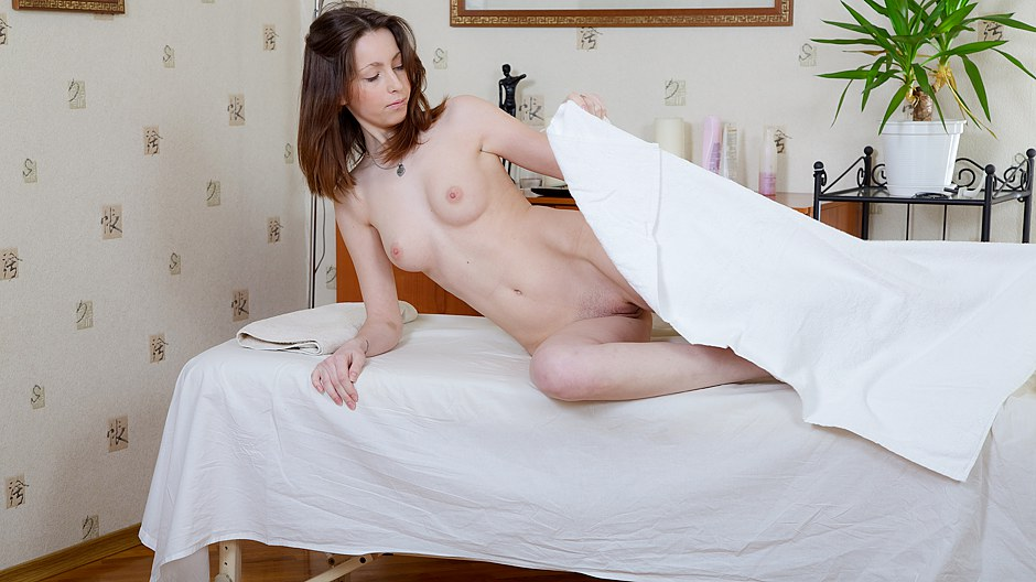 Skinny brunette full body sex massage