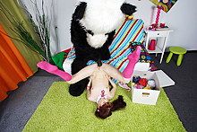 Hot schoolgirl teen gets her muff fucked by a panda strapon
