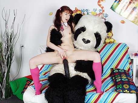 Playing alone teen enlivens panda with huge dildo