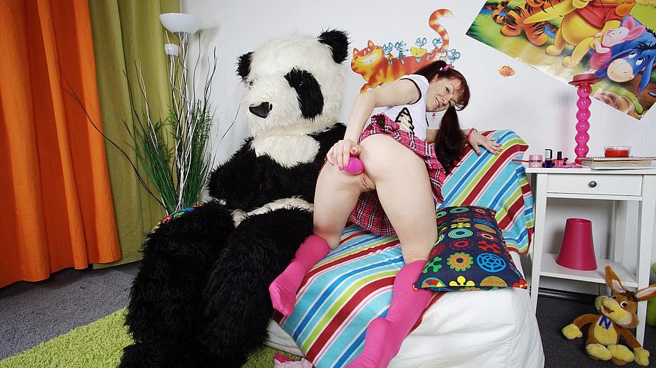 Sex toys porn for nasty brunette and huge panda