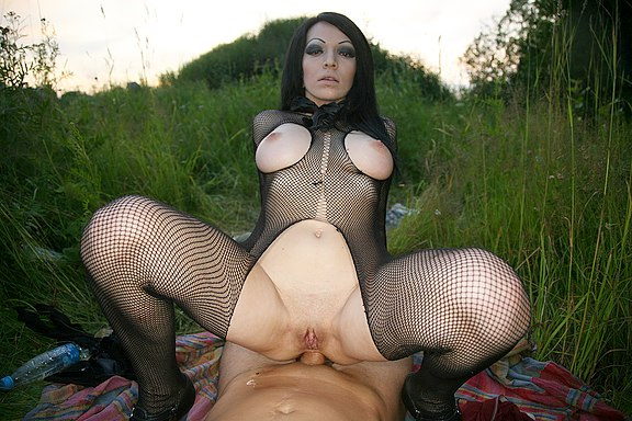 Big tits girl in fishnets fucked