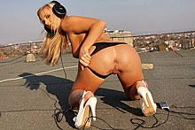 Hot blonde vixen stripping and sucking in public