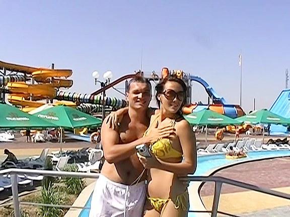 Risky couple sex in aqua park